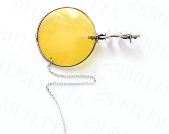 Silver Steampunk Monocle, Yellow Glasses, Gothic Gift, Friend Birthday Gift, Unique Gifts for Women, Dark Academia, Halloween Costume