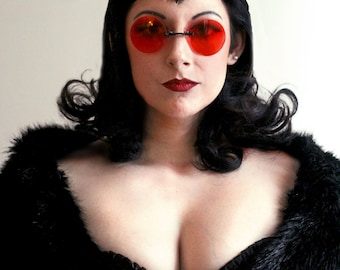 Oversized Red Sunglasses for Women, Pince Nez Glasses, Gothic Glasses, 60s Sunglasses, Halloween Costume, Goth Gift for Him,Round eyeglasses