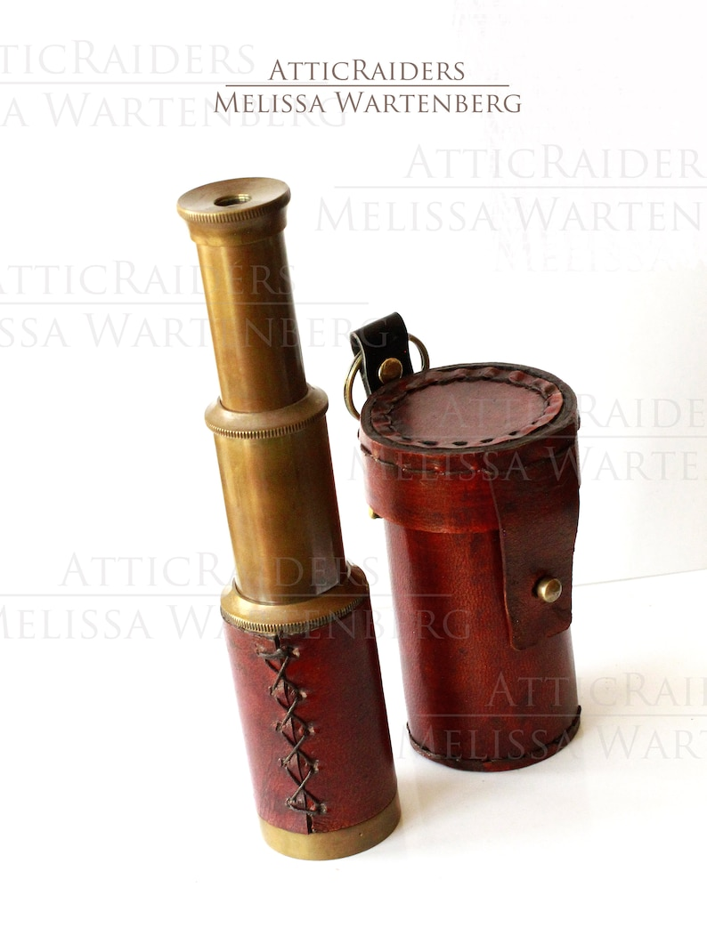 Steampunk Telescope and Case for Men Old World Brass Decor image 0