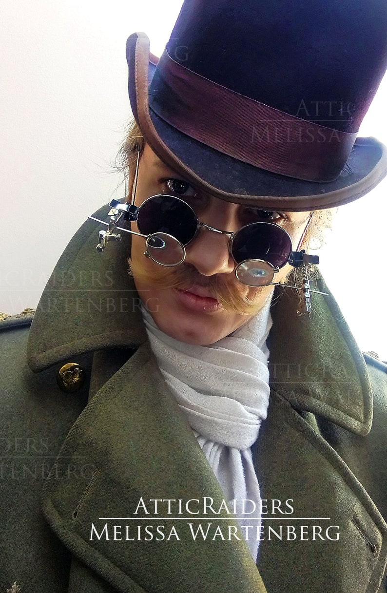Round Black Sunglasses Rimless Glasses for Men Steampunk image 0