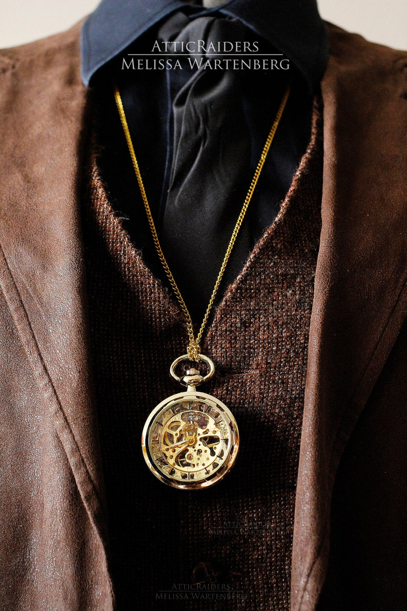 Gold Steampunk Pocketwatch Watch for Men Fathers Gift From image 0