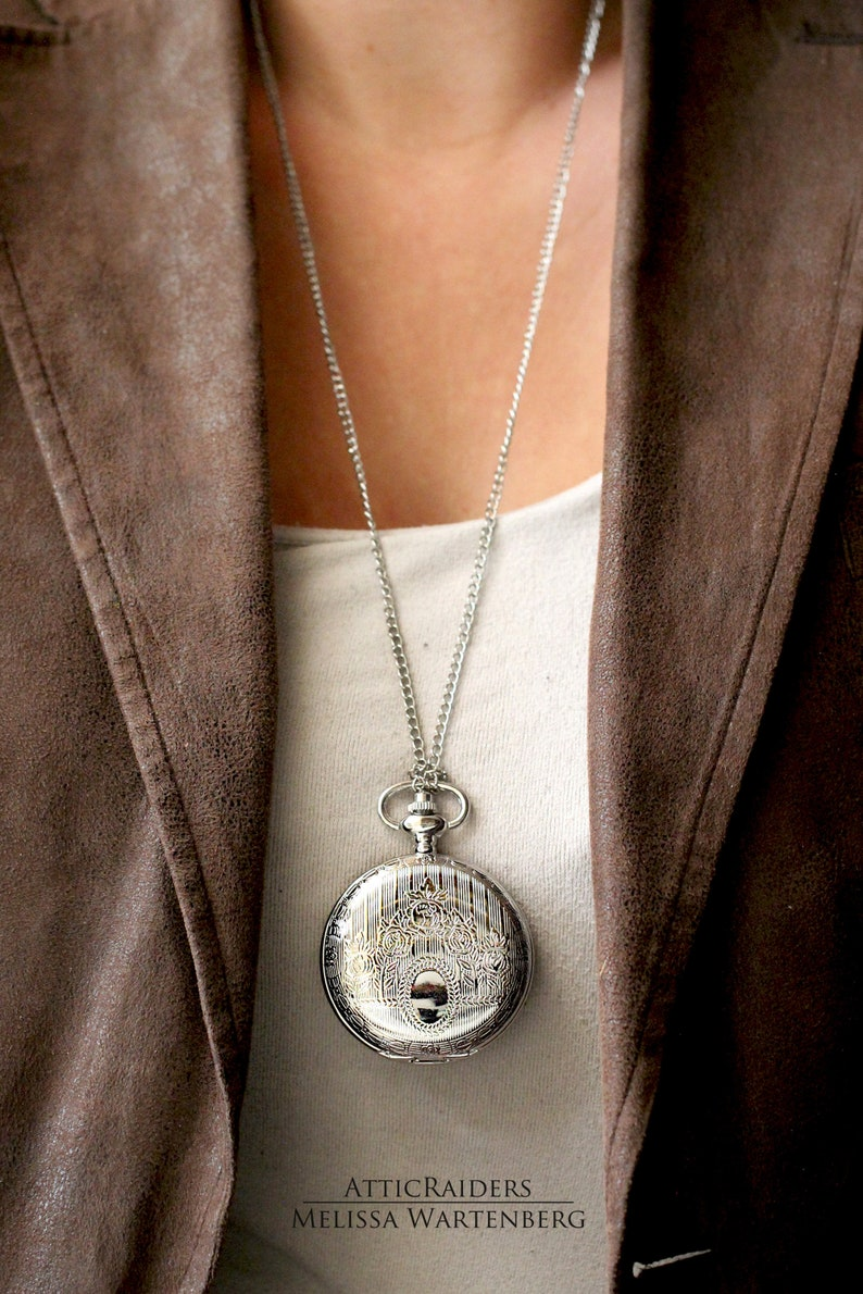 Steampunk Pocket Watch and Chain Gothic Gifts for Him Silver image 0