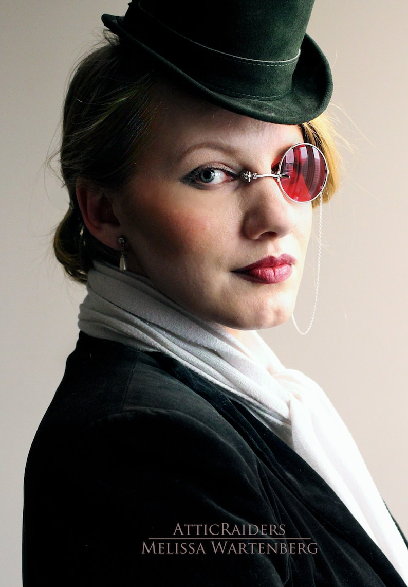 Silver Monocle Eyewear Eyeglasses with Chain Steampunk image 0