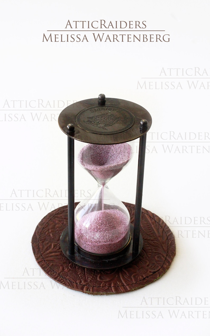 Steampunk Sand Timer with Display Mat Desk Accessory Old image 0
