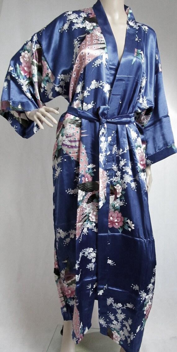 Sapphire Blue Silk Bathrobe kimono bridesmaid bride mother of | Etsy