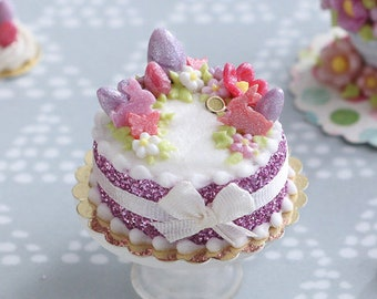 MTO-Handmade Miniature Easter Cake Decorated with Eggs, Rabbits, Flowers - (A - Pink/Purple) - Miniature Food in 12th Scale for Dollhouse