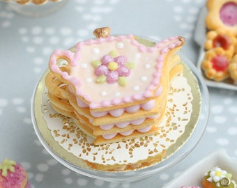 Four Layers Teapot-Shaped Sablé Filled with Cream, Topped with Pink Blossom Decoration - 12th Scale Miniature Food