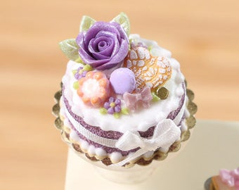 MTO-Purple Rose Cake - Miniature Food in 12th Scale for Dollhouse