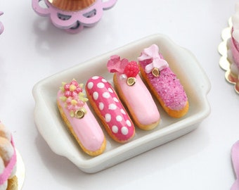 MTO-Presentation of Four Beautiful Pink French Eclairs (A) - Miniature Food for Dollhouse 12th scale