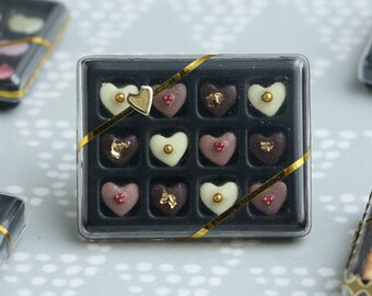 Luxurious Chocolaterie Box of Heart-Shaped Chocolates - Miniature Food in 12th Scale for Dollhouse