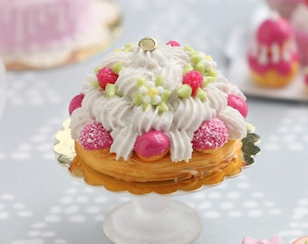 Raspberry St Honoré French Pastry with Pink Choux - Miniature Food for Dollhouse 12th scale (1:12)