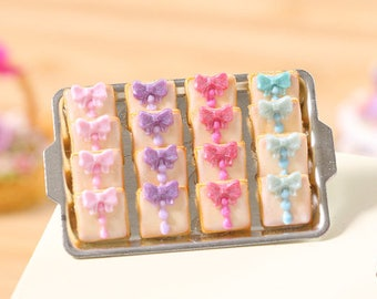"""MTO -Tray of """"fashion victim"""" iced Cookies - Miniature Food in 12th Scale for Dollhouse"""