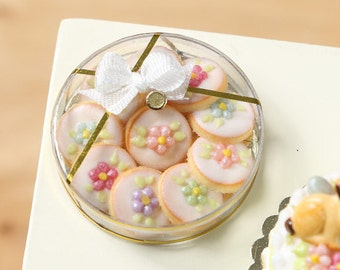 MTO-Box of Spring Blossom Iced Butter Cookies - Miniature Food in 12th Scale for Dollhouse