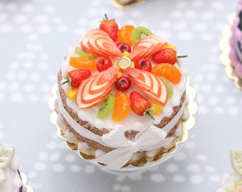 MADE TO ORDER - Miniature Cake with a Beautiful Fruit Decoration - Miniature Food in 12th Scale for Dollhouse