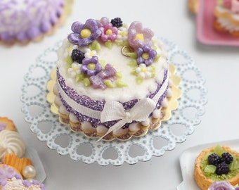 Blackberry Cake with Purple Floral Decoration - Miniature Food in 12th Scale for Dollhouse