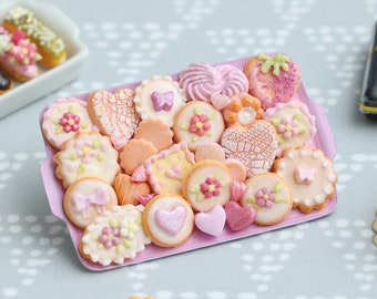 Assorted Pink-Themed Cookies and Treats on Metal Baking Tray - 12th Scale Miniature Food