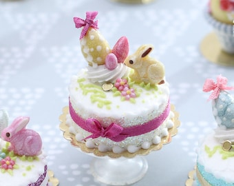 MTO-Miniature Easter / Spring Cake Decorated with Yellow Candy Rabbit, Eggs, Blossoms - (C) - Miniature Food in 12th Scale for Dollhouse