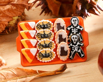 MTO-Miniature Cookies - Candy Corn, Spider, Cat, Skeleton on Tray for Autumn / Fall / Halloween - 12th Scale Miniature Food