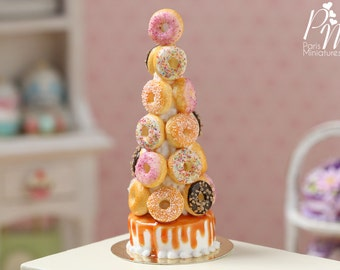 MTO - Donut tower -Made to Order - Miniature Food in 12th Scale for Dollhouse