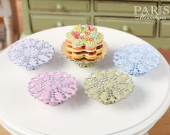 Ornate Metal Filigree Cake Stand (Choice of Green, Pink, Lilac, Baby Blue) - 2.5 cm / 1 inch diameter. 12th Scale Dollhouse Miniature