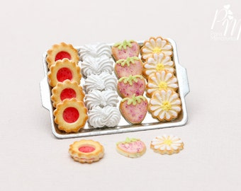 Strawberry and Cream Treats (Cookies, Meringues...) on Metal Baking Sheet - 3 Extra Loose - Tiny Miniature Food in 12th Scale for Dollhouse