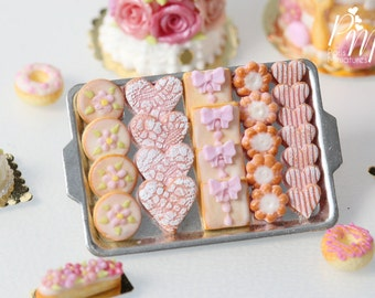 MTO-Pink-Themed Butter Cookies on Metal Baking Tray (Hearts, Gift Parcels etc) - 12th Scale Miniature Food (Pink Collection 2016)