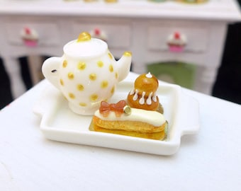 MTO-Tea Tray Set with French Pastries - Caramel - 12th Scale Miniature Food