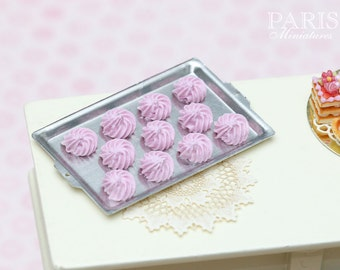 MTO-Light Pink Meringues on Metal Baking Tray - Tiny Miniature Food in 12th Scale for Dollhouse