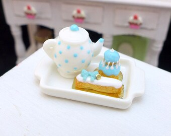 MTO-Tea Tray Set with French Pastries - Cool Blue Mint - 12th Scale Miniature Food