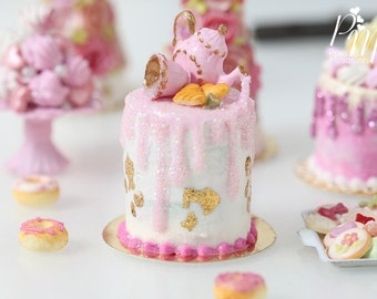 MTO - Pink Teatime Drip Cake with Pink Glittery Decoration Being Poured by Teapot - 12th Scale Miniature Food