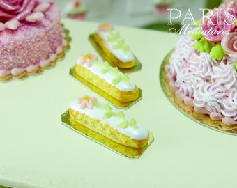 French Eclair Decorated with Hand-piped Pink Flower - Miniature Food