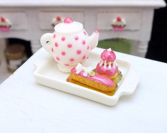 MTO-Tea Tray Set with French Pastries - Raspberry Pink - 12th Scale Miniature Food