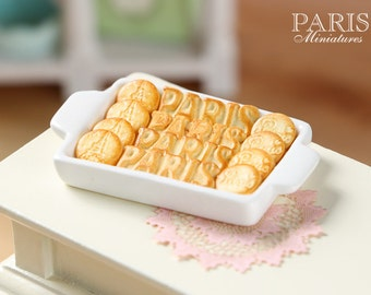PARIS Butter Cookies on Tray - Three Sorts - Miniature Food in 12th Scale for Dollhouse
