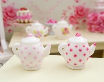 Pink Polka Dot Teapot in Choice of Pinks - Handmade 12th Scale Dollshouse Miniature