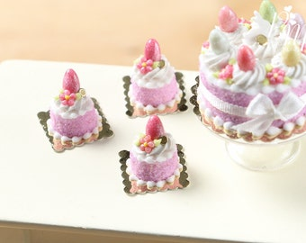 Easter Individual Pastry (Genoise) Decorated with Candy Egg and Blossom - Pink - Miniature Food in 12th Scale for Dollhouse