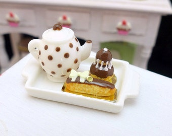 MTO-Tea Tray Set with French Pastries - Chocolate - 12th Scale Miniature Food