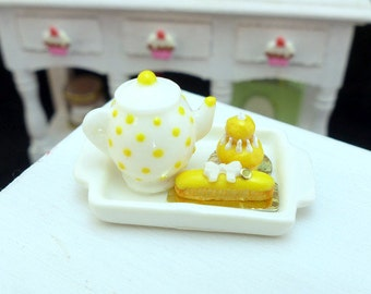 Tea Tray Set with French Pastries - Mango Yellow - 12th Scale Miniature Food