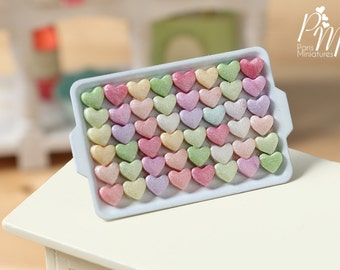 MTO-Presentation of Colourful Candy Hearts on Metal Tray - Miniature Food for Dollhouse 12th scale 1:12
