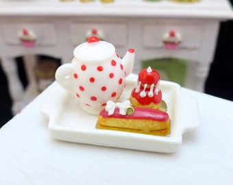 MTO-Tea Tray Set with French Pastries - Strawberry - 12th Scale Miniature Food