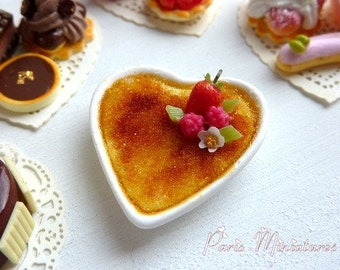 MTO-Creme Brulee for Two - Romantic French Restaurant Dessert - Artisan Handmade Miniature Food by Emmaflam