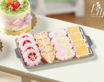 MTO-Presentation of French Butter Cookies with Pink Icing on Baking Tray - Miniature Food for Dollhouse 12th scale 1:12