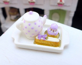 MTO-Tea Tray Set with French Pastries - Violet - 12th Scale Miniature Food