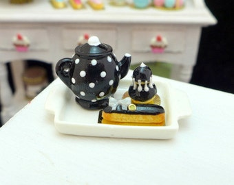 MTO-Tea Tray Set with French Pastries - Liquorice Black - 12th Scale Miniature Food