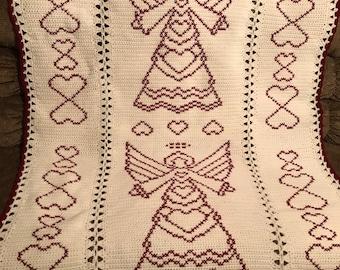 Checker Granny Square Crochet Afghan Blanket Throw so sweet