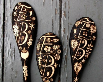3 custom personalized monogrammed spoons-anniversary gift-oak aspen maple leaf acorn ooak design, woodburning personalized
