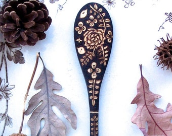 custom 10 inch wooden flower bird fern spoon-woodburned up cycled spoon-hostess-5th anniversary -foodie gift-somerville scout