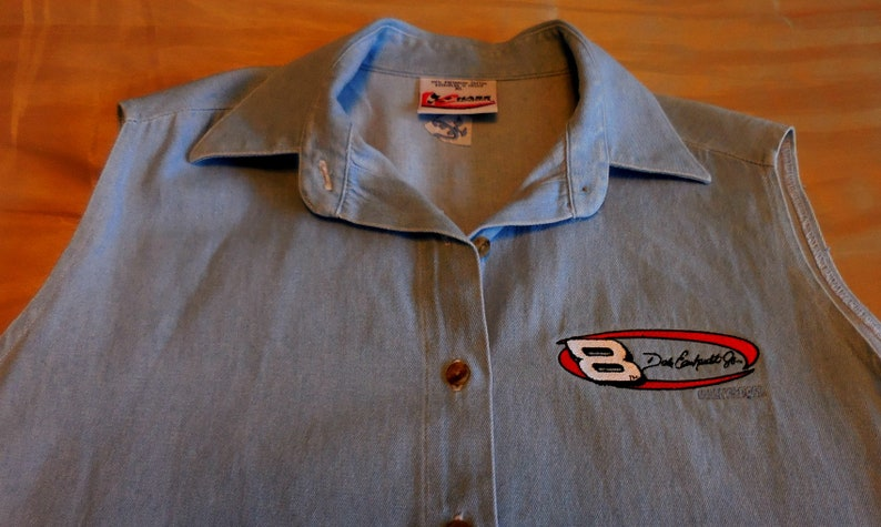 Embroidered with No Size XL 8 Dale Earnhardt Vintage Dale Earnhardt Sleeveless Bleached Denim Shirt