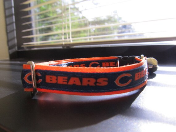 timeless design d0d25 49bda Chicago Bears Cat or Small Dog Collar with Option in Orange or Pink Backing