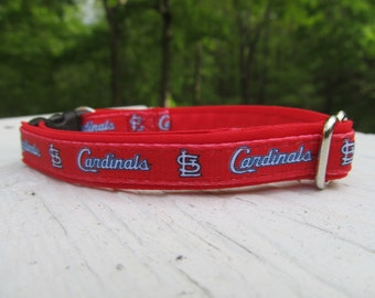 St. Louis Cardinals Cat  or Small Dog Collar w/ Red or Pinking Backing