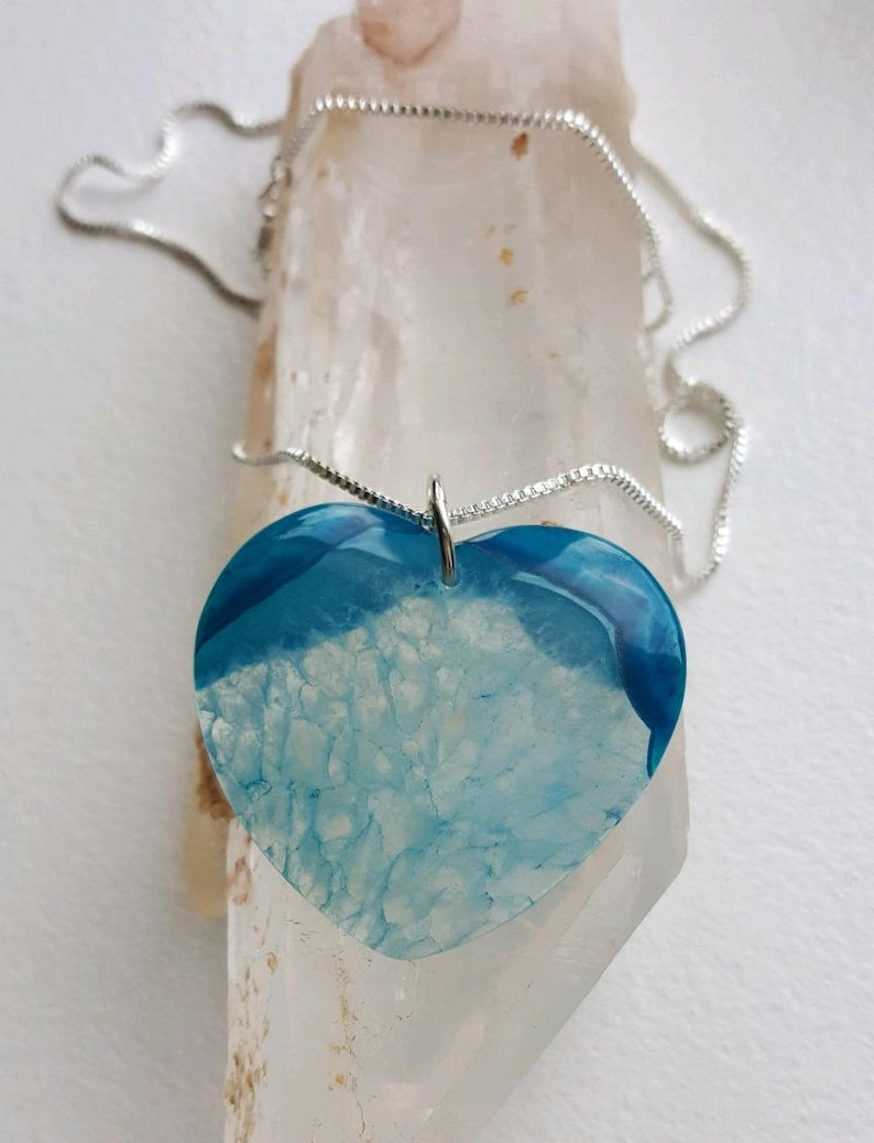 Large 2-tone blue drusy Agate heart on sterling ring and box chain